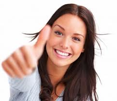 successful woman thumbs up